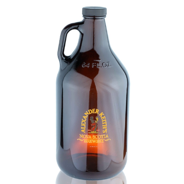 64 oz Amber Handle Glass Beer Growler 38/400