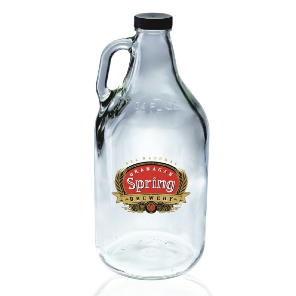 64oz Clear Flint Handle Glass Beer Growler 38/400