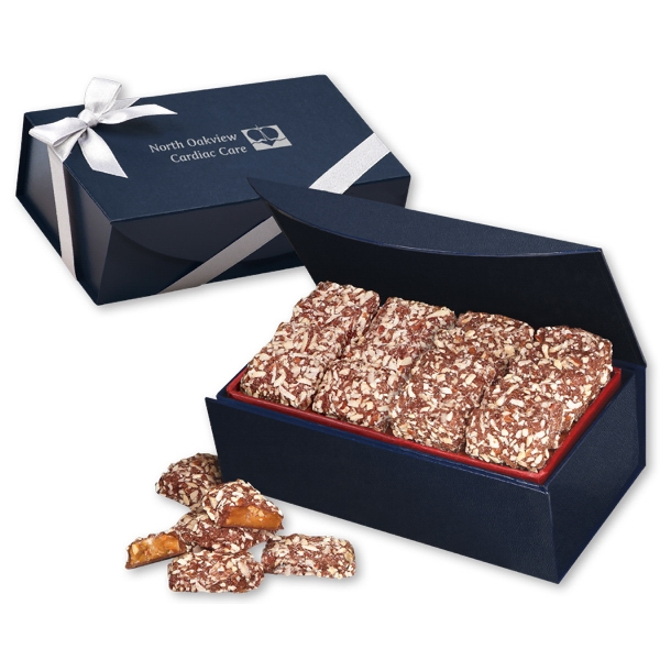 English Butter Toffee in Navy Magnetic Closure Gift Box - navy magnetic closure gift box filled with english butter toffee