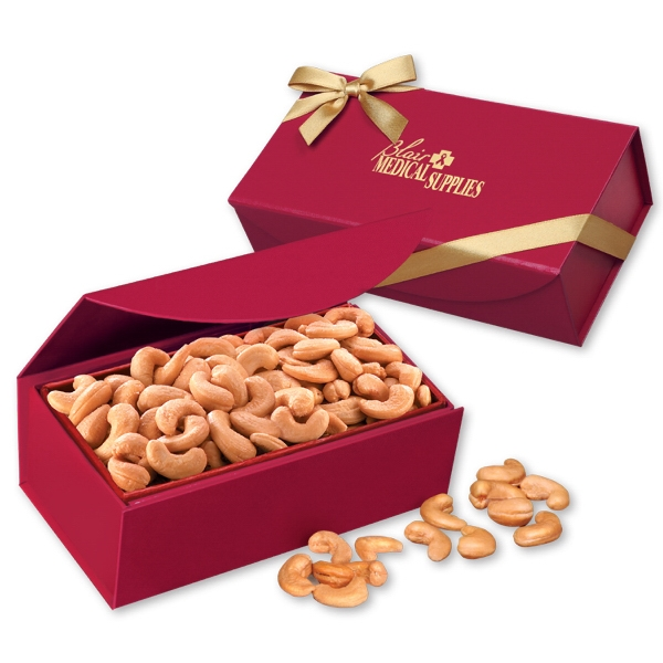 Extra Fancy Jumbo Cashews in Scarlet Magnetic Closure  Box - scarlet magnetic closure gift box filled with extra fancy jumbo cashews