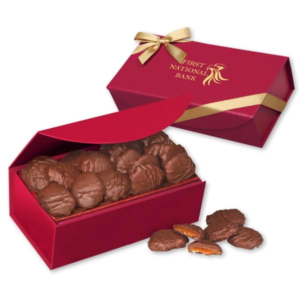 Pecan Turtles in Scarlet Magnetic Closure Gift Box - deep red magnetic closure gift box filled with pecan turtles