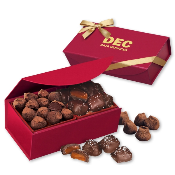 Sea Salt Caramels & Truffles in Red Magnetic Closure Box - deep red magnetic closure gift box filled with chocolate sea salt caramels and cocoa dusted truffles