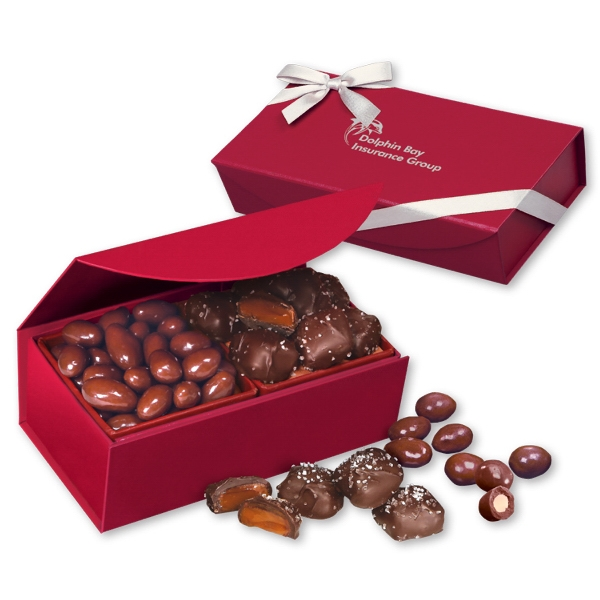 Chocolate Almonds & Sea Salt Caramels in Red Magnetic Box - deep red magnetic closure gift box filled with chocolate covered almonds & chocolate sea salt caramels