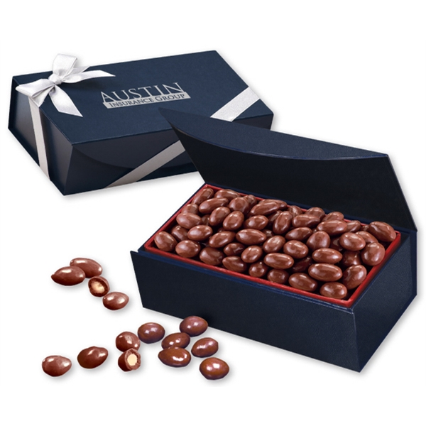 Chocolate Covered Almonds in Navy Magnetic Closure Box