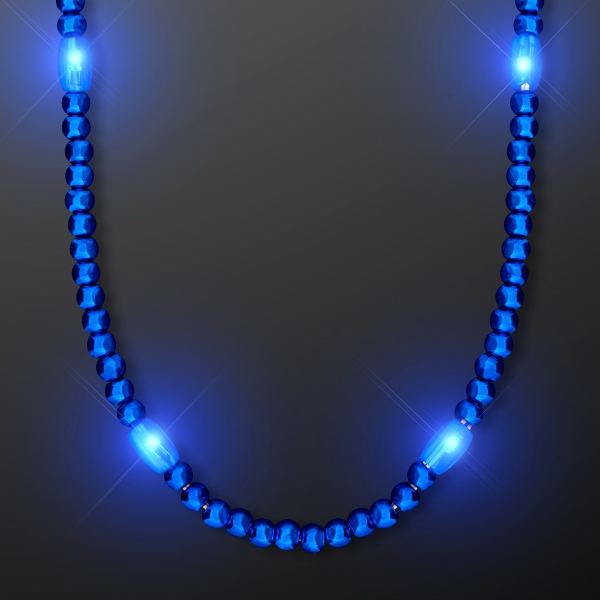 Light Up Electric Blue Mardi Gras LED Beads