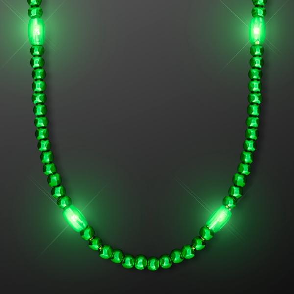 LED Green Glow Mardi Gras Beads