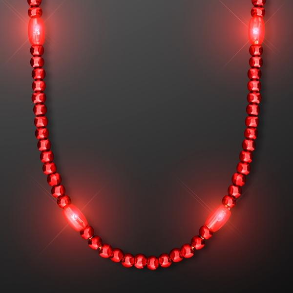 LED Red Light Up Mardi Gras Beads