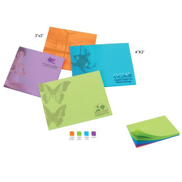 "4"" x 3"" Colored Paper Adhesive Notepad"