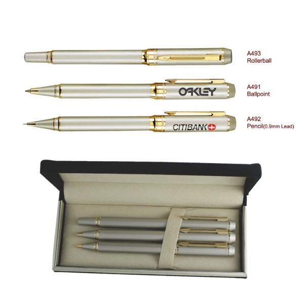 Ballpoint Pen & Rollerball Metal & Pencil Pen Set