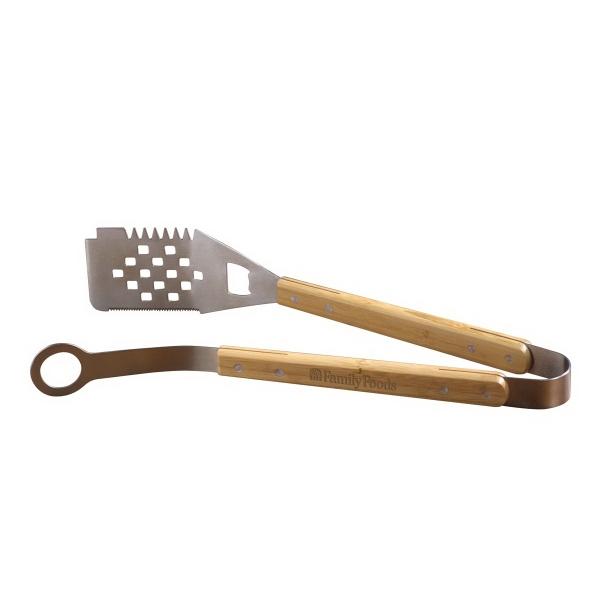 Bamboo Tong and Spatula Grill Tool