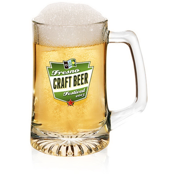Clear 15 oz Luminarc sports personalized beer mug
