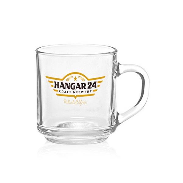 Clear 10 oz Arc handy glass coffee mug