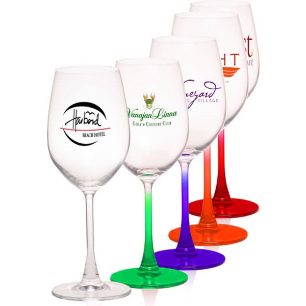 13.25 oz., 100% Lead free crystal wine glass, colored stem.