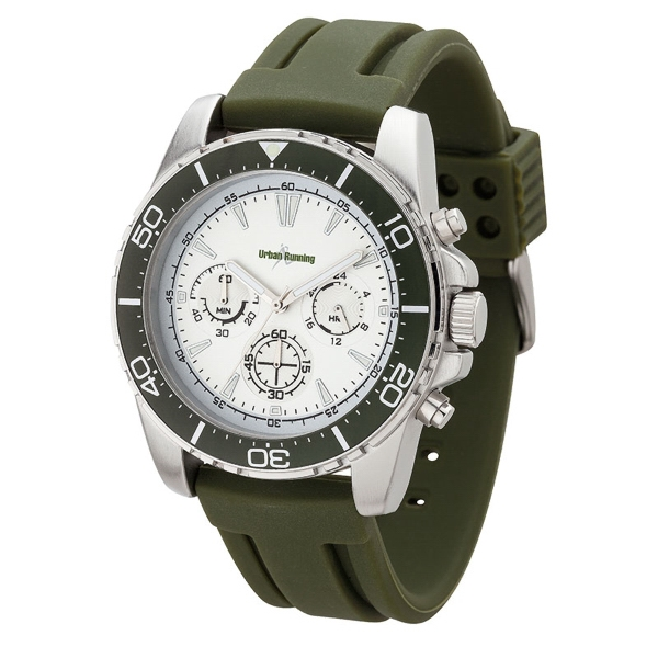 WC9965 Green Bezel - Colorful sport chronograph watch with brushed metal case and silicone rubber straps.