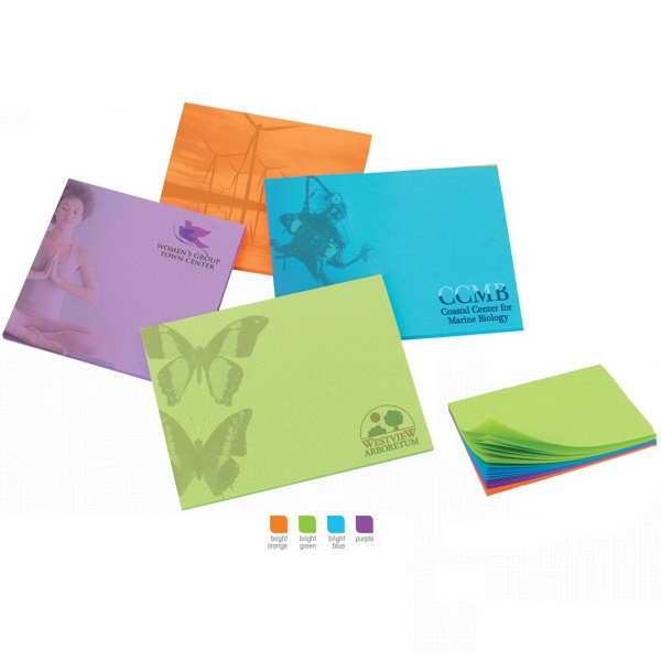"4"" x 3"" Colored Paper Adhesive Notepads"