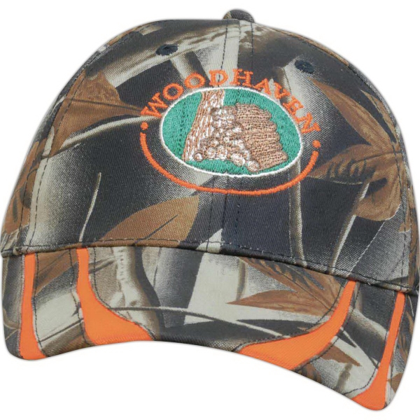 Laminated Leaf-Print Camouflage Two-Tone Cap