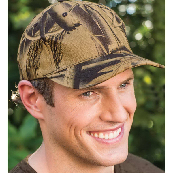 Brushed Cotton Leaf-Print Camouflage Cap