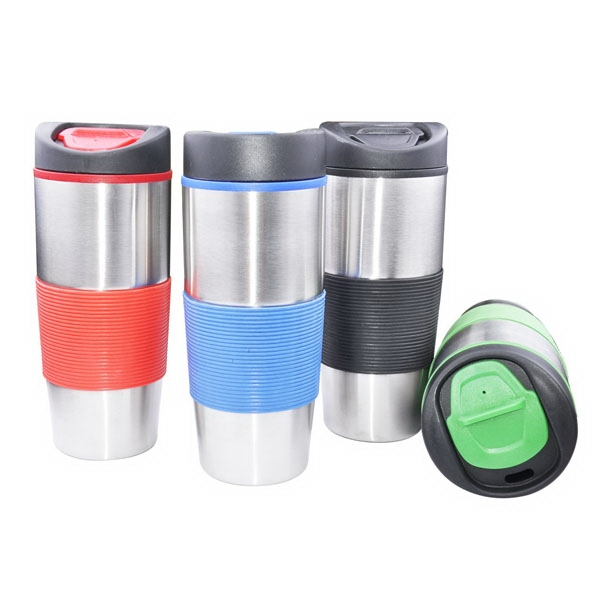 Stainless Steel Travel Mug with plastic liner and rubber sle
