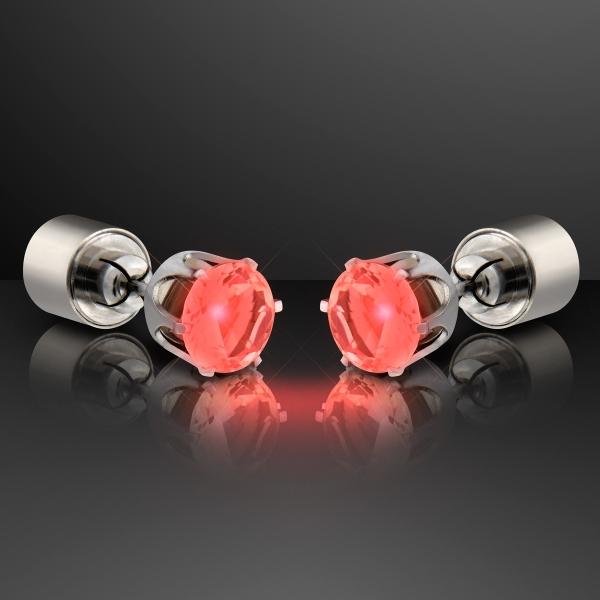 Light Up Faux Ruby Red Pierced Earrings
