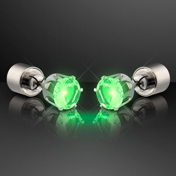Light Up Green Faux Emerald Pierced Earrings