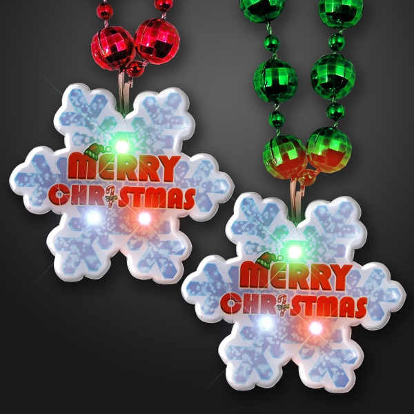 Merry Christmas Blinkies with beaded necklace