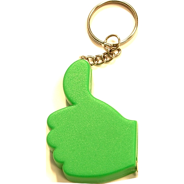 Thumb up tape measure key chain