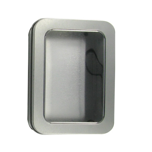 Metal Window Tin with Hinged Lid - Metal window tin with hinged lid. Unimprinted.