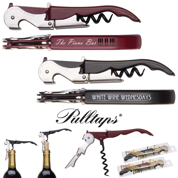 Pulltaps Professional Double-hinged Waiters Corkscrew with Pulltaps Logo Set of 3