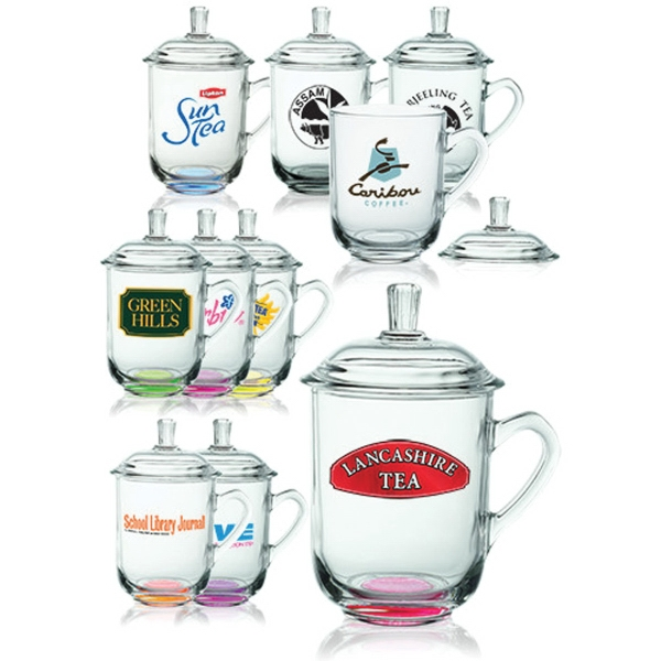 13 oz. Brisk Glass Coffee or Tea Mugs with Lids