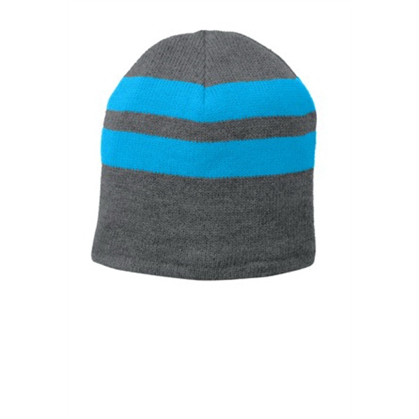 Port & Company Fleece-Lined Striped Beanie Cap.