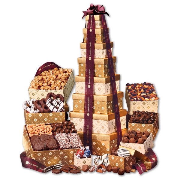 Golden Delights Giant Party Tower with Sheer Burgundy Ribbon - gold patterned tower filled with nuts, chocolates, and other food items