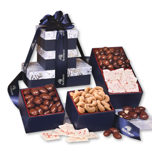 Gourmet Snowflake Tower - navy snowflake tower filled with chocolates and nuts