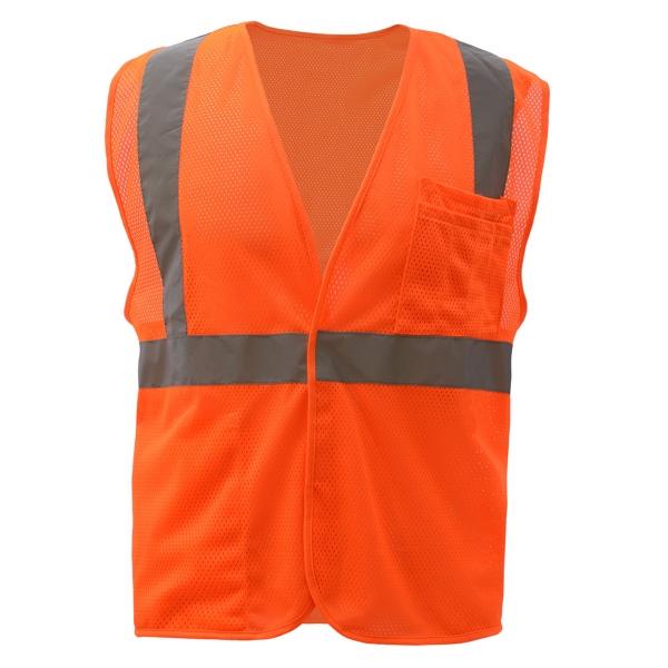 Class 2 Mesh Hook & Loop Vest - Orange