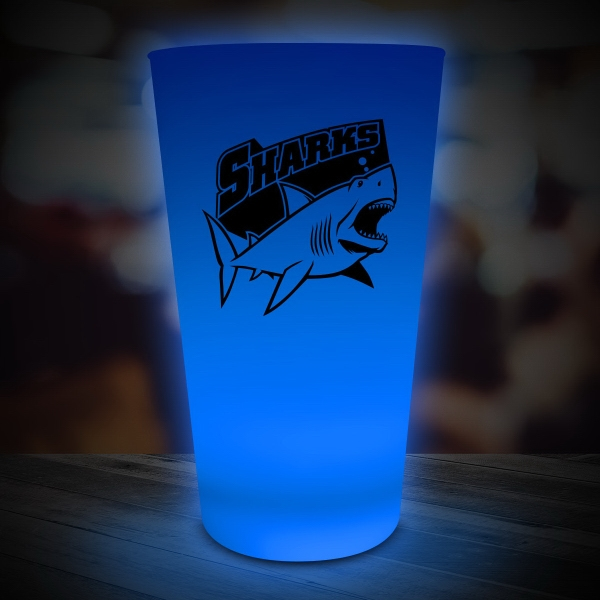 Blue LED Light Up Glow Neon Look 16 oz Drinking Pint Glass