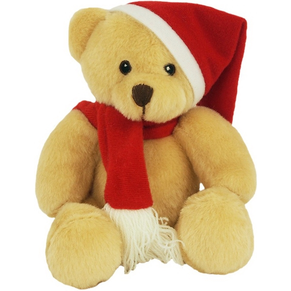 "6"" Bear with Santa Hat and Red Scarf"