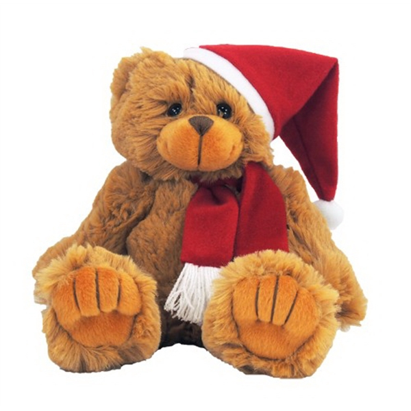 """9"""" Bear with Santa Hat and Red Scarf"""