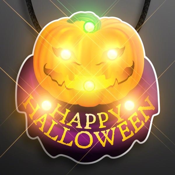 Jack O' Lantern Pumpkin Blinky on Lanyard Necklace