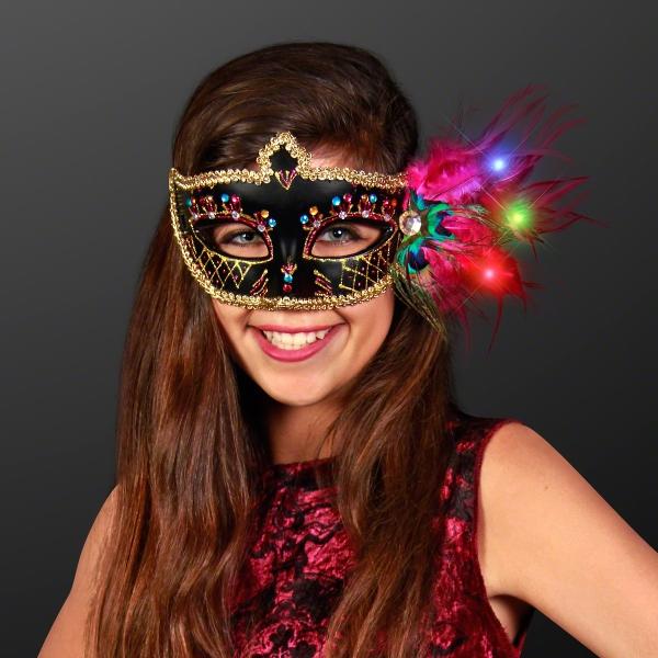 Light Up Feathers Fancy Black Mardi Gras Mask