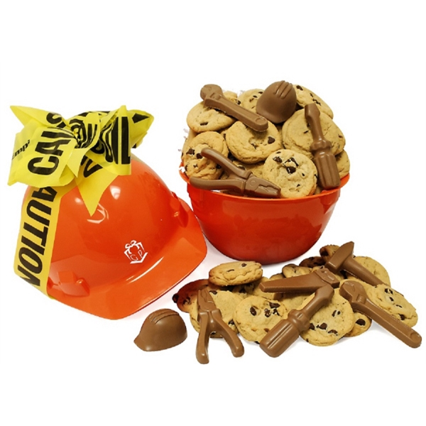 Proceed With Caution Chocolate Themed Tools Cookie Hard Hat