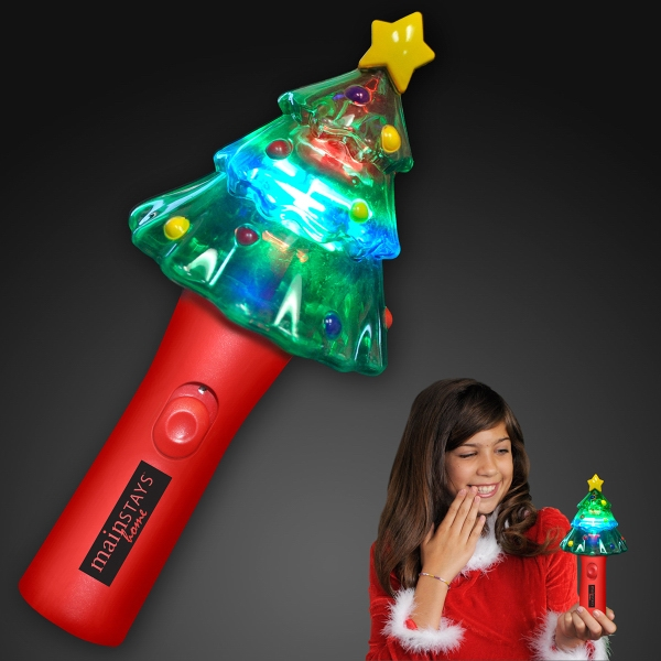 Imprinted Deluxe Christmas Tree Wand with Spinning Lights