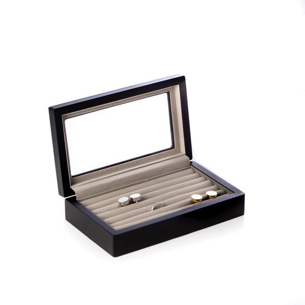Cuff Link Box - Black leather cuff link box
