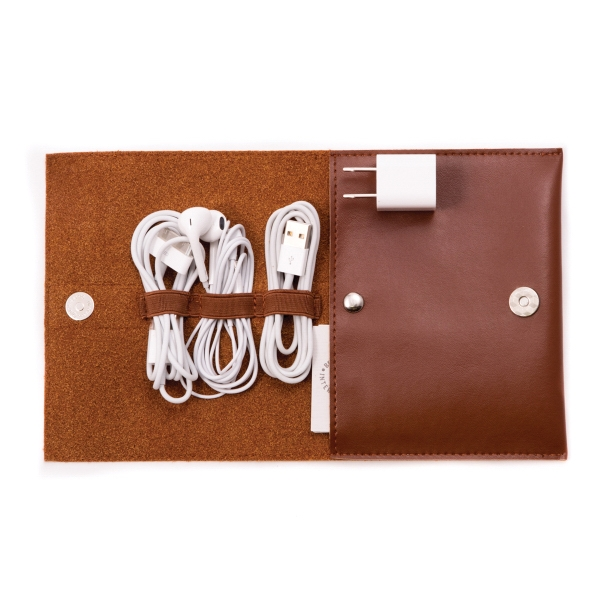 Cord Trap - Brown leatherette pouch with charger and accessories