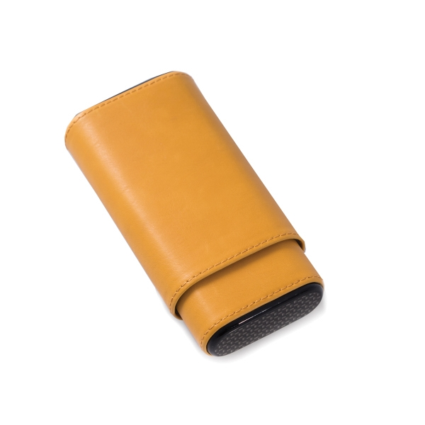 Cigar Case - Yellow leather cigar case