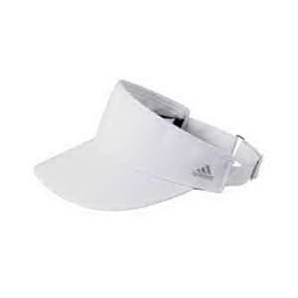 adidas (R) Golf Performance Front-Hit Visor - Front-hit visor. Moisture-wicking sweatband. High crown, adjustable buckle. Dark underbill to reduce glare. Blank.