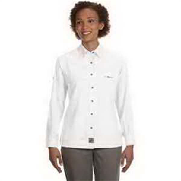 Ladies' Peninsula Long-Sleeve Performance Fishing Shirt - Ladies' short-sleeve performance fishing shirt. Moisture-wicking. Stain-resistant. Button-tab roll sleeves. Blank.