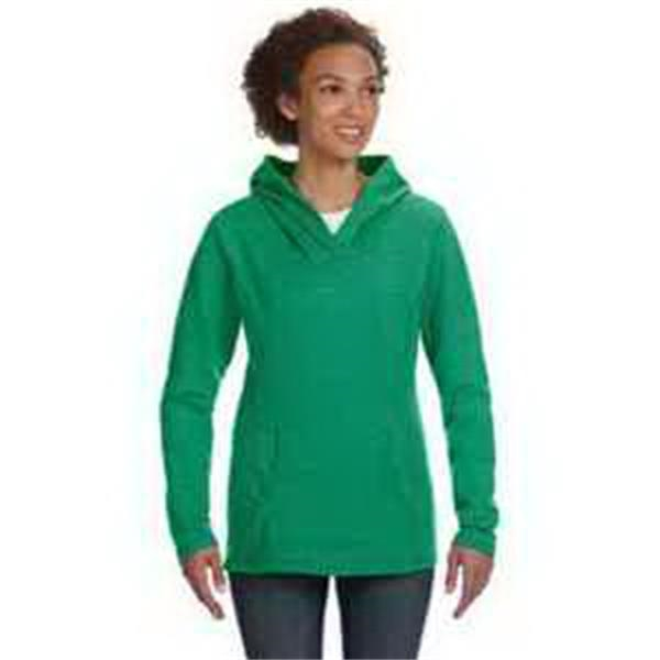 Anvil (R) Ladies' Ringspun French Terry Crossneck Hooded - Ladies' french terry hooded sweatshirt with pouch pocket.