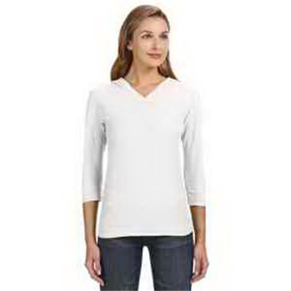 J. America Ladies' 3/4-Sleeve Slub T-Shirt - Ladies' 3/4-sleeve slub T-shirt. V-neck. 1 x 1 rib knit on hood, neck and cuffs . Blank.