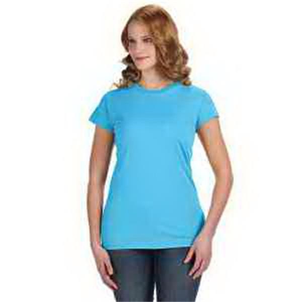 J. America Ladies' Glitter T-Shirt - Ladies' glitter T-shirt. Glitter knit throughout fabric. 1 x 1 rib collar. Sideseam construction. Blank.