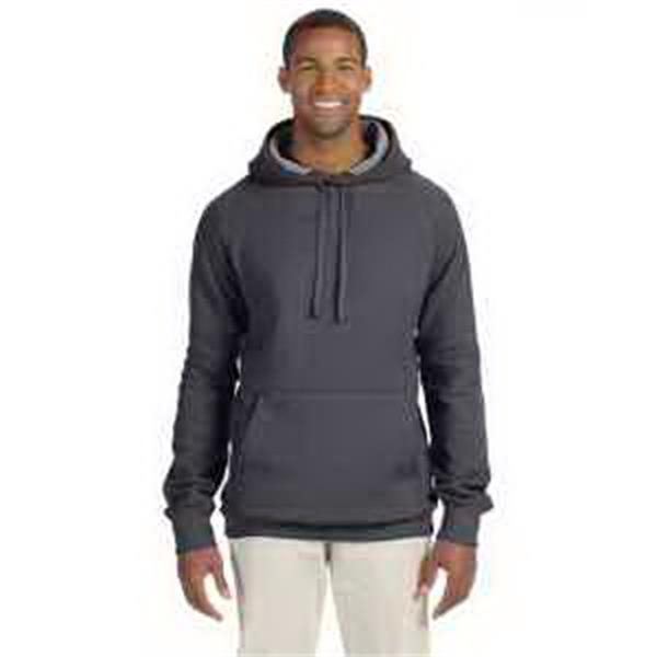 Hanes (R) 7.2 oz Nano Pullover Hood - 7.2 oz pullover hood. Raglan sleeves. Dyed to match drawcord. Contrast twill tape and hood lining. Blank.