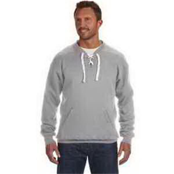 J. America Sport Lace Crew - Sport lace crew. Split front placket with six sewn eyelets. Thick flat lace drawcord. Blank.